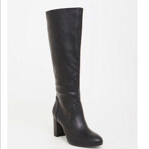 Torrid black pu leather taper knee boots